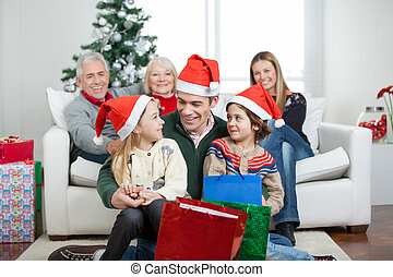 Multigeneration Family With Christmas Presents