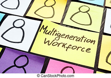Multigeneration workforce concept. Multicolored memo sticks with figures.