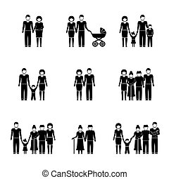 Multigenerational family monochrome icons set with all ages members. Vector