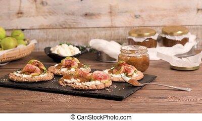 Multigrain crispread appetizer - Canape or crostini with...
