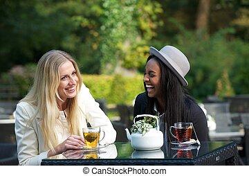multikulturell, freunde, lachen