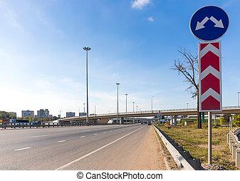 multilane, ハイウェー, そして, 跨線橋