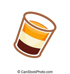 Vector illustration of cocktail with orange, white, and brown layers isolated on white.