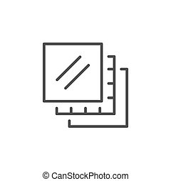 Multilayered line outline icon or layer sign isolated on white. Vector illustration