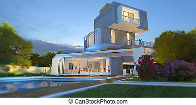 Multilevel modern villa with pool and garden