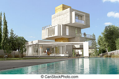 Multilevel original villa with pool and garden