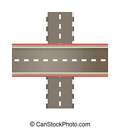 Multilevel road intersection of freeways icon