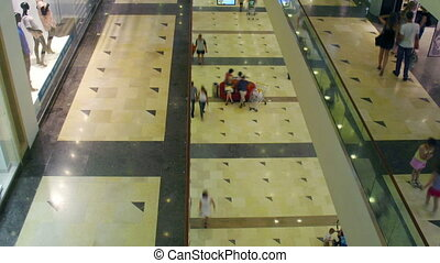 multilevel shopping mall, time lapse