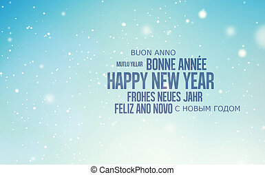 multilingual background for Happy New Year