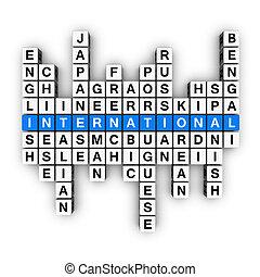 multilingual concept  (blue-white cubes crossword series)