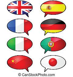 Multilingual - Glossy illustration of several cartoon talk...