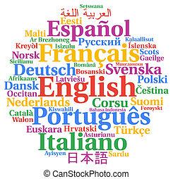 Multilingual languages word cloud