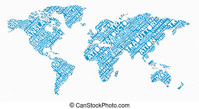 Multilingual translation world map concept - Multi-language ...