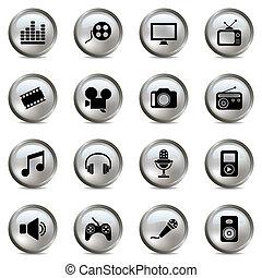 multimédia, állhatatos, ezüst, ikonok