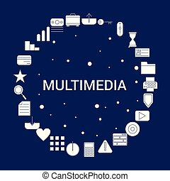 multimédia, créatif, fond, icône