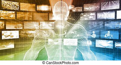 multimédia, données, ligne