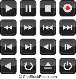 multimédia, ellenőrzés, sima, ikon, állhatatos