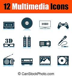 multimédia, ensemble, icône