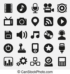 multimédia, ensemble, icônes