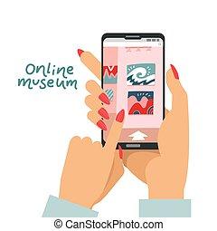multimédia, galerie, tenue, numérique, rester, concept, smartphone, exposition, art, visiter, appareil, guide, app, ligne, exposition, service, mains, interactif, maison, musée, femme