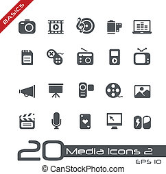 multimédia, icônes, //, élémentsessentiels