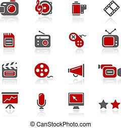 multimédia, icônes, /, redico