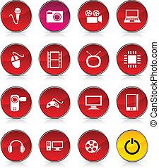 multimédia, icons.