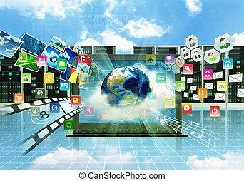 multimédia, internet, ordinateur portable