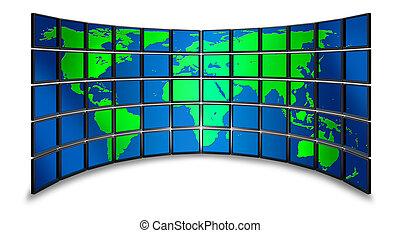multimédia, monitor, világ