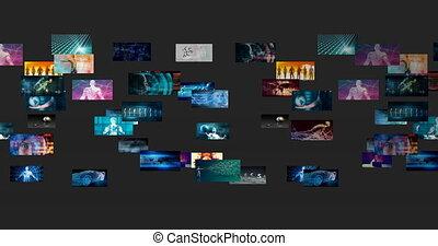 multimédia, technologies, radiodiffusion, tuiles, divertissement, vidéo
