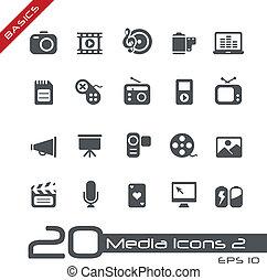 multimedia, ícones, //, básico