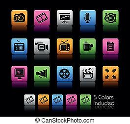 multimedia, ícones correia fotorreceptora, /, colorbox