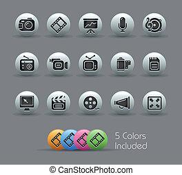multimedia, ícones correia fotorreceptora, /, perolado