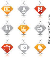 multimedia, ícones