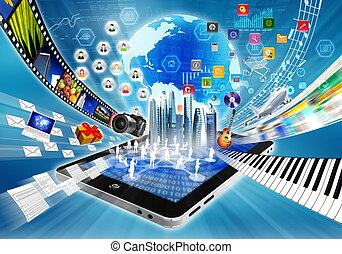 Multimedia and Internet Sharing concept - Conceptual image...