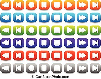 Multimedia, Audio - Video Player Control Buttons in Various Colors