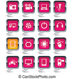 Multimedia set of square balloon icons.