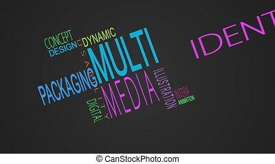 Multimedia buzzwords montage on black background