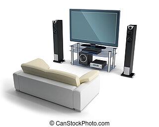 Multimedia center - 3d image multimedia center with a sofa