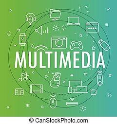 multimedia, concept., differente, linea sottile, icone,...