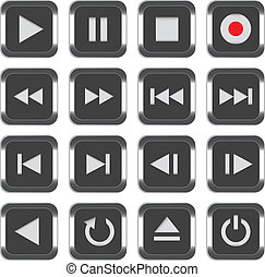 Multimedia control icon set