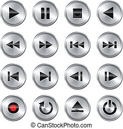 Multimedia control icon/button set - Metallic glossy ...