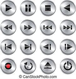 Multimedia control icon/button set - Metallic glossy ...
