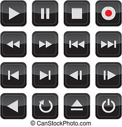 multimedia, controle, glanzend, pictogram, set