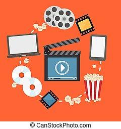 Multimedia design. - Multimedia design over orange...