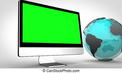 Multimedia devices with an Earth im - Animation of...