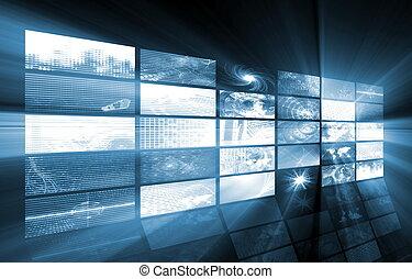 Multimedia - Futuristic Web Cyber Data Grid Color Background