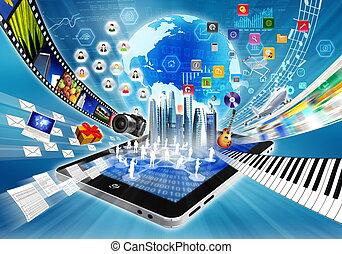 multimedia, e, internet, compartilhar, conceito