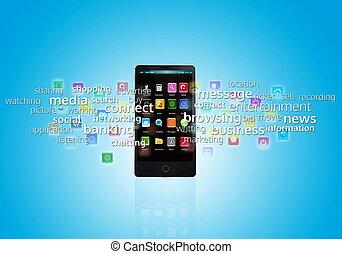 multimedia, elegante, teléfono