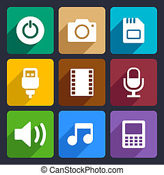 Multimedia flat icons set  2